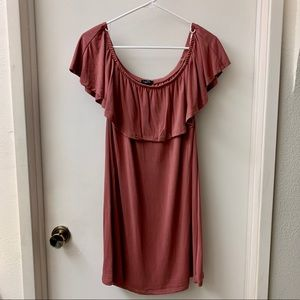 Rue 21 mauve colored dress with ruffled neckline